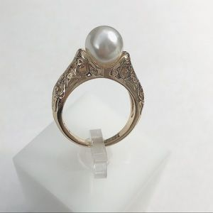 Jewelry - S925 Vintage engraved pearl ring